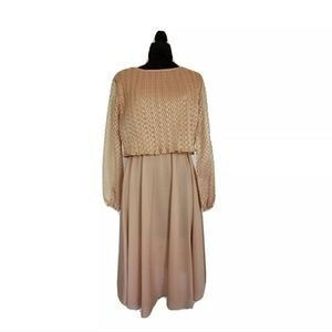 70s Semi Sheer Gold Blousy Day Dress Union Label